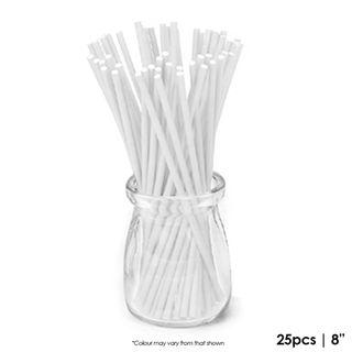 CAKE CRAFT | 8 INCH LOLLIPOP STICKS | WHITE | PACK OF 25