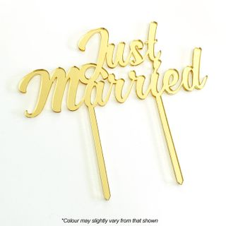 JUST MARRIED GOLD MIRROR ACRYLIC CAKE TOPPER