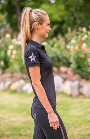 Bare Sequin Polo Shirt Black