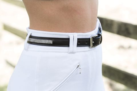 Black Leather Crystal Belt