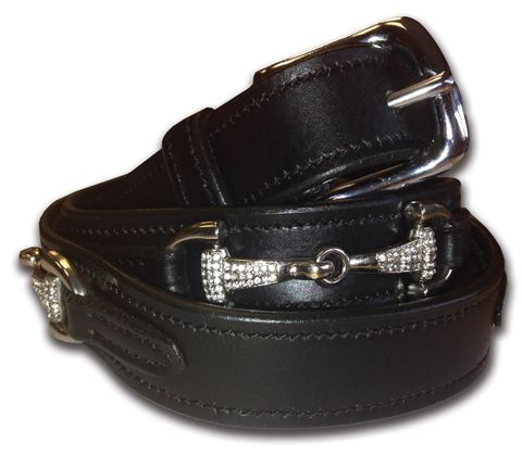 Black Leather Crystal Snaffle Belt