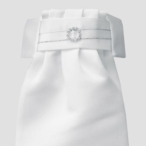 Deluxe Ready-Tied Stocks - White/ Circle Diamante