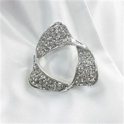 Infinity Ribbon Stock Pin - Crystal/Silver