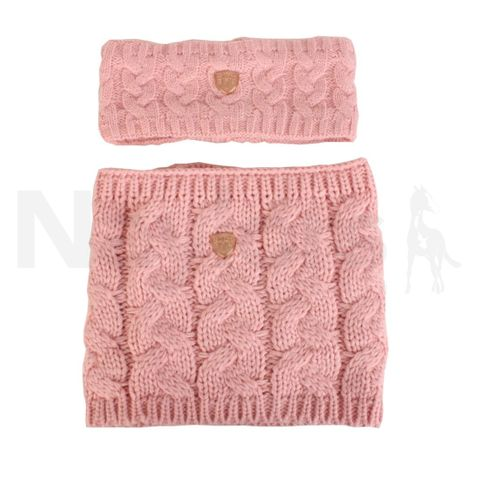 Junior Cable Knit Headband & Loop Scarf - Pink