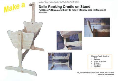 Plan-Dolls Rocking Cradle on Stand
