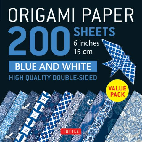 Origami Paper 200 Sheets: Blue and White Patterns