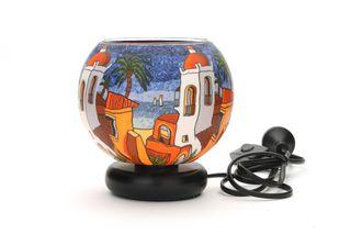 Glass Electric Lamp, Santorini Sunset