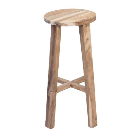Tall Round Reclaimed Teak Stool - Natural