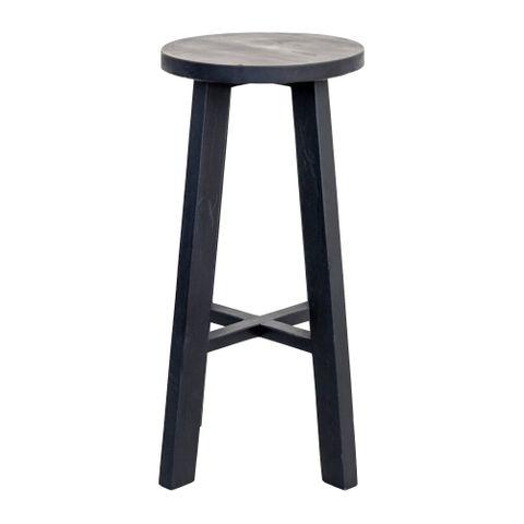 Tall Round Reclaimed Teak Stool - Black