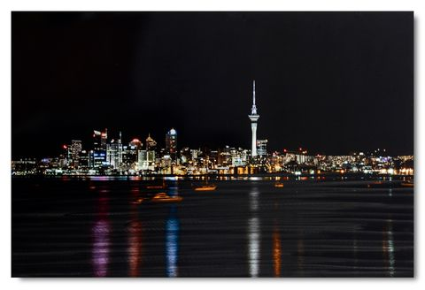 Auckland by Night Aluminium Wall Art 90x60