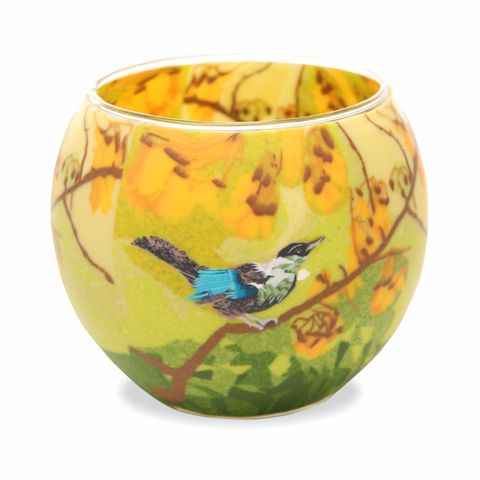 Glass Tealight Holder, Kowhai Tui