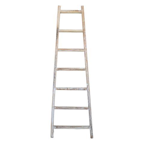 Reclaimed Teak Decor Ladder Small - Whitewash