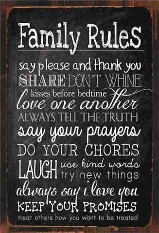 Tin Sign 30x20 Family Rules