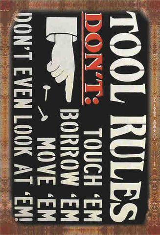 Tin Sign 30x20 Tool Rules