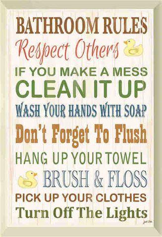 Tin Sign 30x20 Bathroom Rules