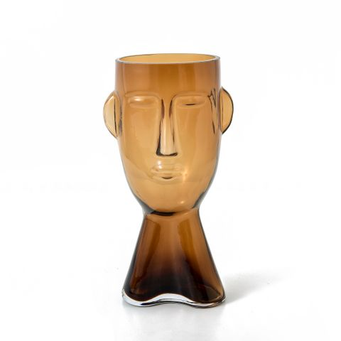 Claydon & Brook Glass Face Vases - Brook Small - Amber