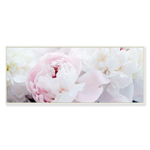 Pink Peony Framed Canvas Print 120x50 cm