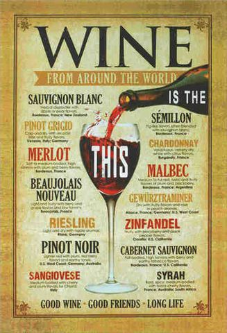 Tin Sign 30x20 Wines of the World
