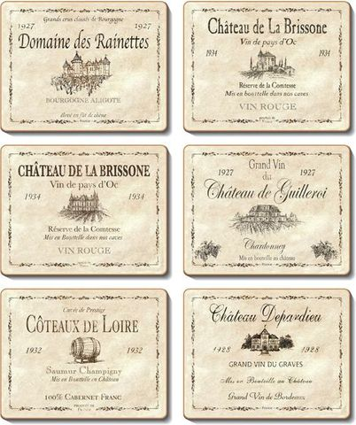 Coasters Wine Labels 12x10 cm