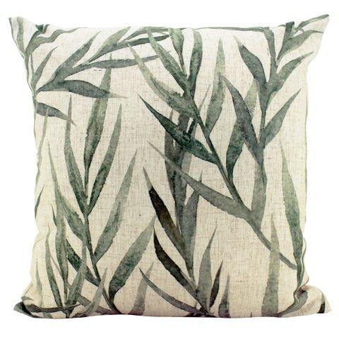 Faded Greenery Linen Cushion 50x50cm