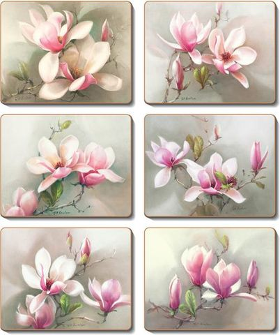 Coasters Magnolias 12x10 cm