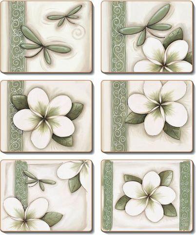 Coasters Green Frangipani 12x10 cm