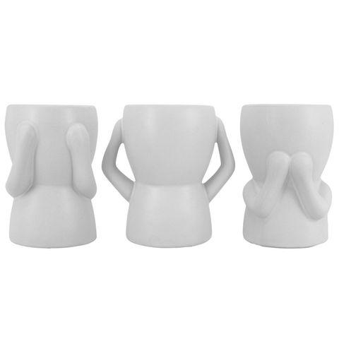 Hear/See/Speak Pothead Set of 3 White