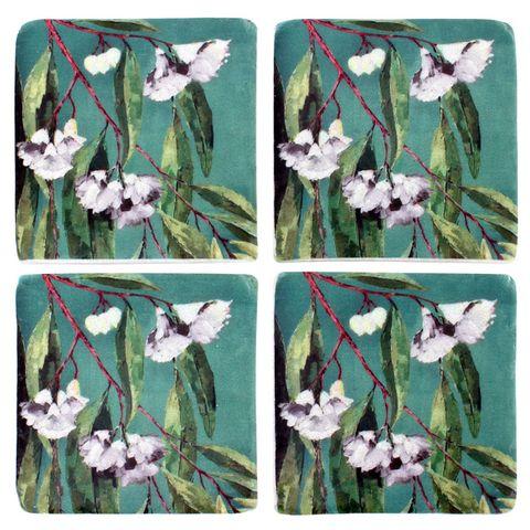 S/4Gum Flower Resin Coasters 10x10cm