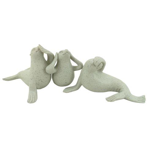 Hear/See/Speak Seal Set of 3 Grey
