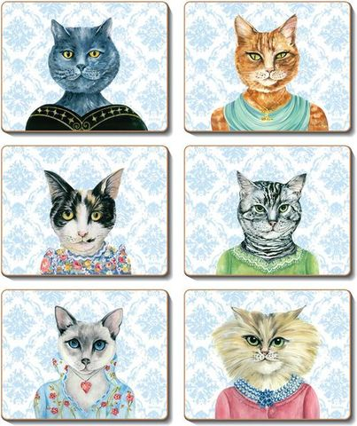 Coasters Lady Cat Luncheon 12x10 cm