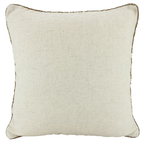 Rope Trimmed Linen Cushion Beige 50x50cm