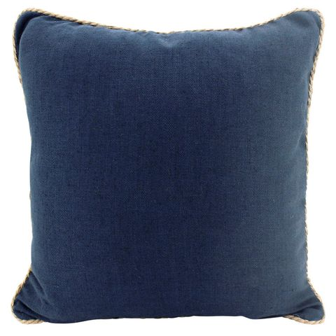 Rope Trimmed Linen Cushion Navy 50x50cm