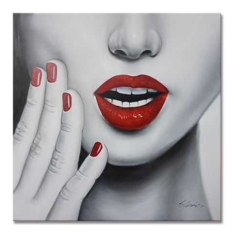 Glamour Lip Red Oil Painting 80X80