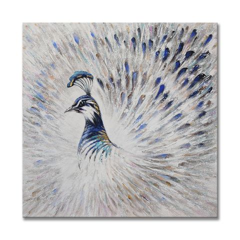 Silver Peacock Oil Painting 90X90