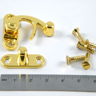 Brass Plated Medium Swing Hook Catch 29x34mm