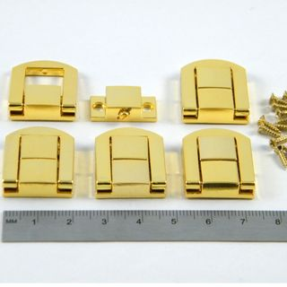 5 x Brass Plated Box Catch 25x20x6mm