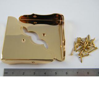 Brass Plated Box Corners 46x46mm