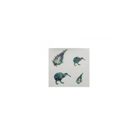 Paua Theme Stickers Kiwis and Ferns