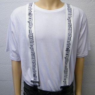 Casual Braces 2inx48in Musical Notes White