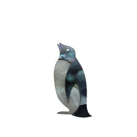 Paua Penguin -2 pce  Black / White Pearl