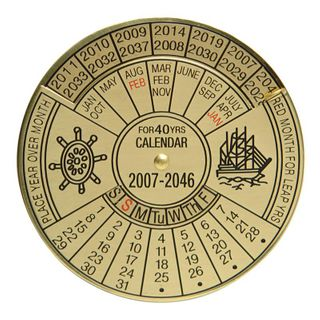 40 Year Calendar - 2011 - 2050 Brass