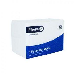 1ply WHITE LUNCH NAPKIN 1/4 FOLD ALFRESCO x 500 (6)