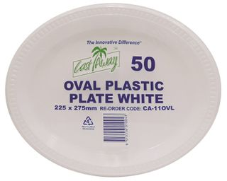PLATE LARGE OVAL PLASTIC 275mm CA-110VL x 50 (10)