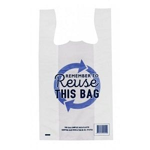 MEDIUM CARRY BAG SINGLET REUSABLE (BLUE) x 100 (10)