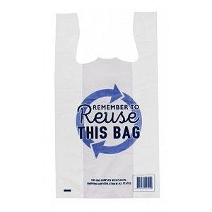 MEDIUM CARRY BAG SINGLET REUSABLE (BLUE) x 100 (10)