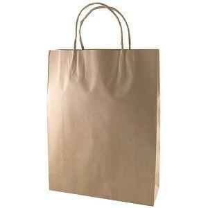 MEDIUM BROWN CARRY BAG TWIST HANDLES SAVILL x 50 (5)
