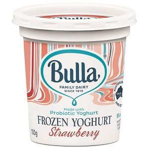 BULLA STRAWBERRY FROZEN YOGHURT CUPS 100g x 12