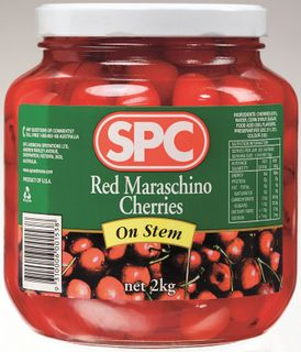 MARASCHINO CHERRIES RED ON STEM GFREE x 2kg (6)