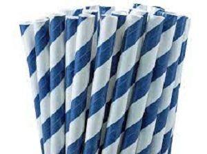 BLUE WHITE PAPER STRAWS STRIPE FFRIENDLY x 250 (10)