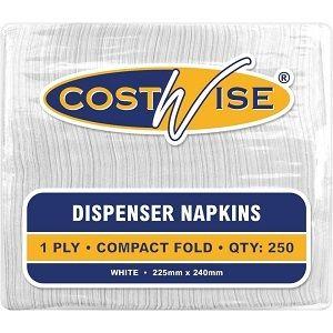 1ply WHITE SEVRITE DISP NAPKIN CWISE x 500 (12)